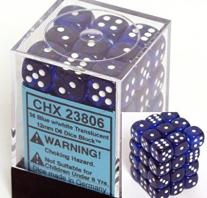 Monopolis Chessex D6 Sets Blue White Transluscent Accessory, Tabletop, Board and Card Game