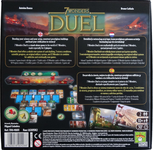 Monopolis 7 Wonders Duel Base Tabletop, Board and Card Game